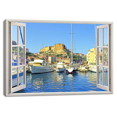 KALAWA Large Window Frame Style Old Town Canvas Print Wall Art Modern Bonifacio Corsica Island Wall Picture for Home Decoration Living Room Bedroom Wooden Framed Ready to Hang(28''H x ()