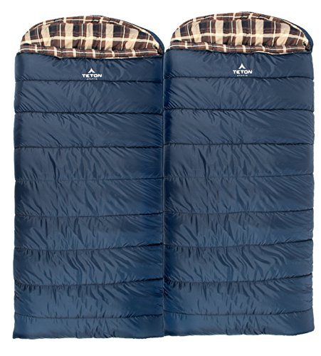 TETON Sports Celsius XL Sleeping Bag; Great for Family Camping; Free Compression Sack 3 WARM AND COZY THREE SEASON BAG: Adjustable shoulder and full-length zipper baffles eliminate drafts; Size 90x36 inches, fifteen inches longer than most bags; Half-circle mummy style hood with drawstring keeps pillow or head off the ground, camp pad, or cot surface HIGH-QUALITY DESIGN AND CONSTRUCTION: Sturdy taffeta shell is durable, easy to pack, and stands up to years of use; Double-layer construction for entire width and length of bag increases warmth and durability CAMPING GEAR ADD-ONS AVAILABLE: Designed to accompany many other TETON Sports products for an out of this world base camp experience; RigLht and left-hand zippers let you zip two Celsius X -32C/-25F bags together, or use on its own for a cozy, warm night's sleep