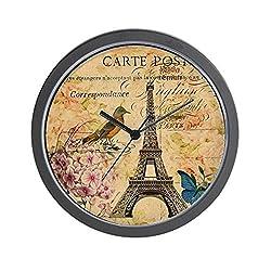 CafePress Paris Eiffel Tower Hydrangea Bird Flora Unique Decorative 10 Wall Clock