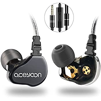 aceyoon In Ear Monitors for Musicians Dual Dynamic Hi-Fi Headphones with Mic Noise Cancelling Wired Stereo Earbuds for Apple iOS iPhone Android Computer PC Tablet