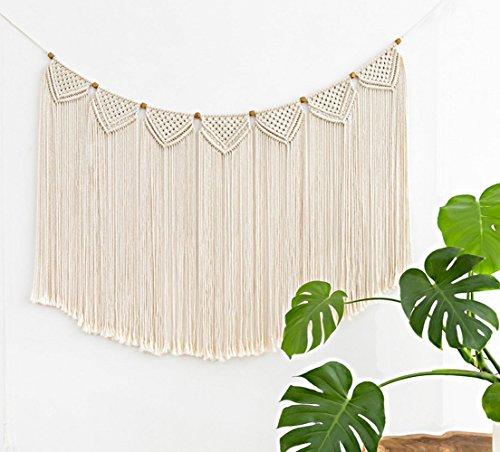 Mkono Macrame Curtain Wall Hanging Banner, 28 3/4 W x 46 1/2 L - Macrame Curtain