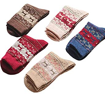 5 Pairs Womens Vintage Style Winter Warm Thick Knit Wool Cotton Crew Socks Christmas Reindeer