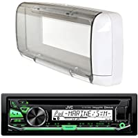 JVC KD-R97MBS MP3/USB/AUX Bluetooth Marine Boat Yacht Stereo Receiver CD Player Bundle Combo With Dual Electronics SG3 White Water Resistant Flip Up Housing Cover