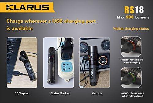 Klarus Hombre RS18 Recargables Linterna con Not rompecristales, Color Gris Oscuro: Amazon.es: Deportes y aire libre