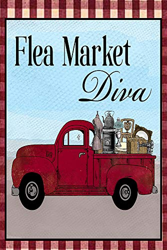 """Flea Market Diva with Red Truck Decorative Garden Flag, Double Sided, 12"""" x 18"""" Inches, Picker Junkin Queen"""