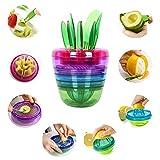 FGN Best Unique Cool Home Kitchen Tools Gadgets-Fruit Salad Maker Fruit Slicer-Avocado Slicer,Citrus Peeler,Apple Slicer,Citrus Juicer,Fruit Grater by FGN