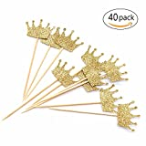Gold Glitter Crown Cupcake Toppers 40 Pieces - First Birthday, Birthday Party, Baby Shower Decor