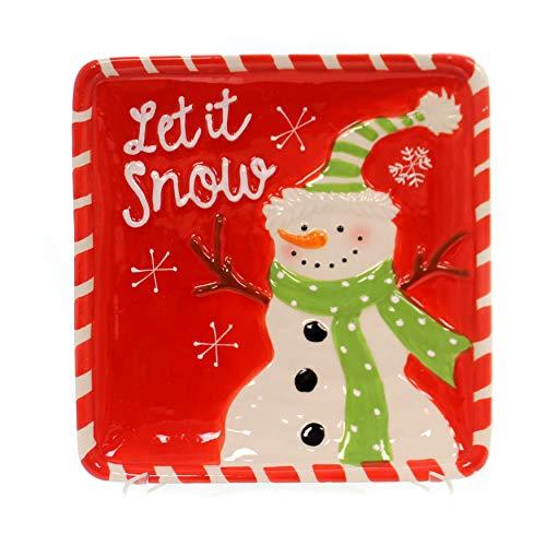 (OKSLO Winter's frost snowman plate ceramic microwave)