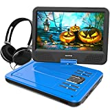 WONNIE 10.1 inch Portable DVD Player CD Player Backpack & Earphone, Swivel Screen Remote Control 5 Hours Rechargeable Battery AC Adapter Car Charger, Mini DVD Player, Support USB/SD Slot (Blue)