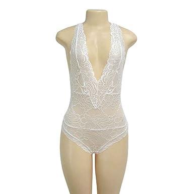 3c5e10ae94c Minzhi Women Sexy Deep-V Lace Bodysuit Catsuit Sleeveless Fitness Jumpsuit  Backless Slip Leotard Bodies Sleepwear  Amazon.co.uk  Clothing