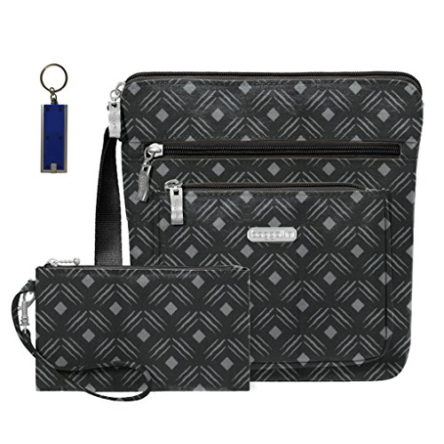 Baggallini RFID Pocket Travel Crossbody Bag -Wristlet Key Foab Purce Charm (Black Diamond Print)
