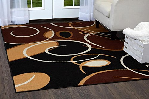 (Home Dynamix Premium Loire Area Rug | Contemporary Style Area Rug with Bold Print | Abstract All-Over Swirl Pattern in Neutral Colors | Black, Brown, Beige 7'8 x 10'7)