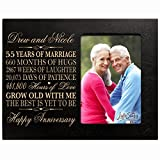 Personalized 55th Year Wedding Anniversary Gift for Couple Custom engraved 55th Wedding Anniversary Gift Frame Holds 1 4x6 Photo 8'' H X 10'' W (Black)