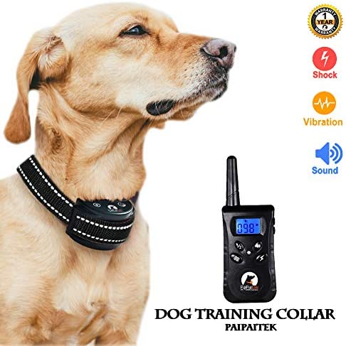 Paipaitek Dog Training Collar Anti Bark Behavior Control Waterproof Rechargeable Remote 500 Yard Range LCD Screen Backlight Adjustable Levels fits Small Medium Large Dog