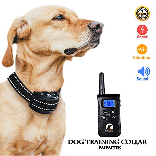 Paipaitek Dog Training Collar Reflective Anti Bark Pet Behavior Control Remote 1500 Feet 100 Levels LCD Screen Waterproof Rechargeable Light-Weight (All Black)