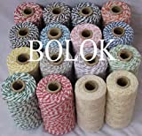 FINCOS 9pcs/lot Bakers Twine,32 Kinds Color Choose Twisted Cotton Rope, Baker Twine Cotton Cords, Cotton Twine (110yards/spool)