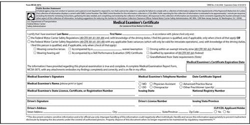 medical certificate dot examiner certification unavailable fmcsa examination