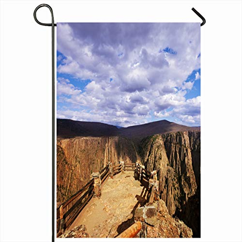 Ahawoso Garden Flag 12x18 Inches Gorge Green America Black Canyon Gunnison Park Colorado Nature Area Atmospheric Bottom Cloud Design Decorative Seasonal Double Sided Home House Outdoor Yard Sign