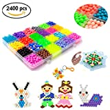 JACHAM Water Fuse Beads, 2400 Beads with 24 Colors Water Spray Beads Set, Various Bead Refill for Kids Activity Pack Compatible with Aquabeads and Beados DIY Art Crafts Toys.