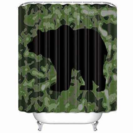Amazon com: Girdsunp Shower Curtain Bear Silhouette On Camo
