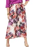 Jessica London Women's Plus Size Silky Skirt Tropical Leaf,18/20