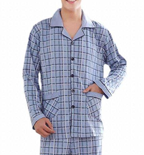Top Fulok Mens Fashion Leisure Plaid Printed Thick Pajama Set supplier