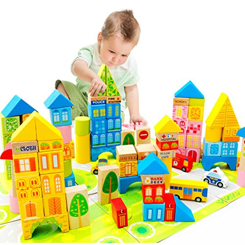 100 Piece City Traffic Wooden Building Blocks Stacking Set Toys For Kids Gift by Zhisheng You