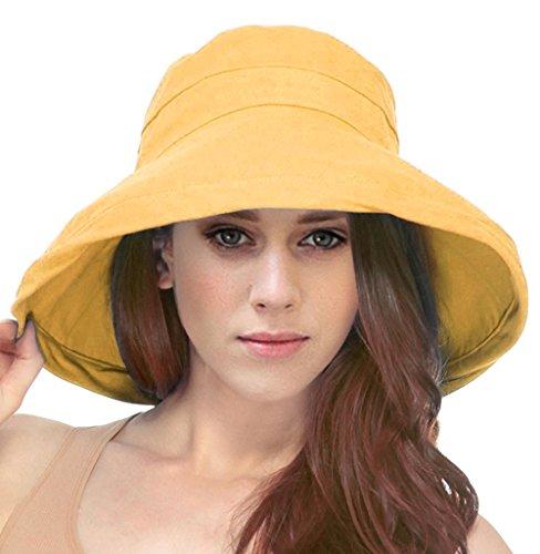 Simplicity Summer Solid Cotton Bucket Hat with Big Fold-Up Brim, Mango ()