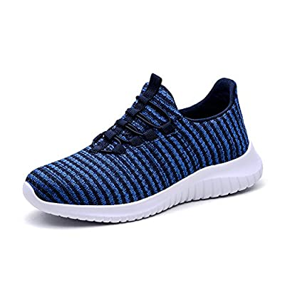 TIOSEBON Women's Lightweight Casual Walking Athletic Shoes Breathable Flyknit Running Slip-On Sneakers 13 US Blue