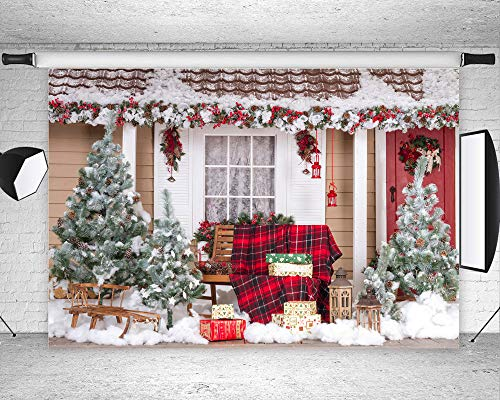 Qian Christmas Tree and Outdoor Snow Landscape Theme Backdrops Poly Fabric Photo Backdrops Holiday Party Decor Studio Props Booth Vinyl 7X5ft -