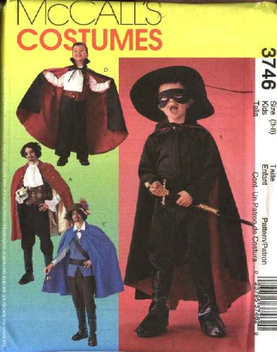 McCall's Sewing Pattern 3746 Boys Size 3-8 Costumes Pirate Swashbuckler Vampire - Swashbuckler Costume Boys