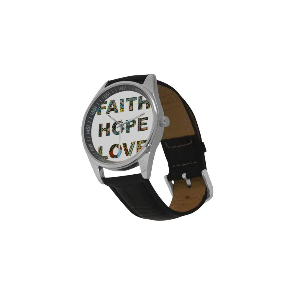 InterestPrint Christian Bible Verse Lettering Waterproof Men's Stainless Steel Casual Leather Strap Watches, Black