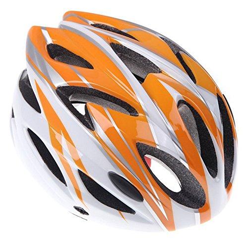 TOOGOO(R) Unisex Radfahren MTB Strassen Frauen und Herren Fahrradhelm mit 18 Loechern(Orange weiss)