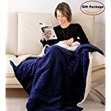 "Napa Blanket Throw 50""x60"" - Luxury Lambswool Sherpa Throw Blanket - Reversible Soft Blankets for Adults, All Seasons Plush Blanket, Navy Blue, Best Gift"