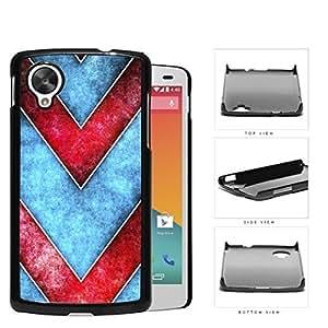Large Chevron Blue/Red Grunge Hard Plastic Snap On Cell Phone Case LG Nexus 5