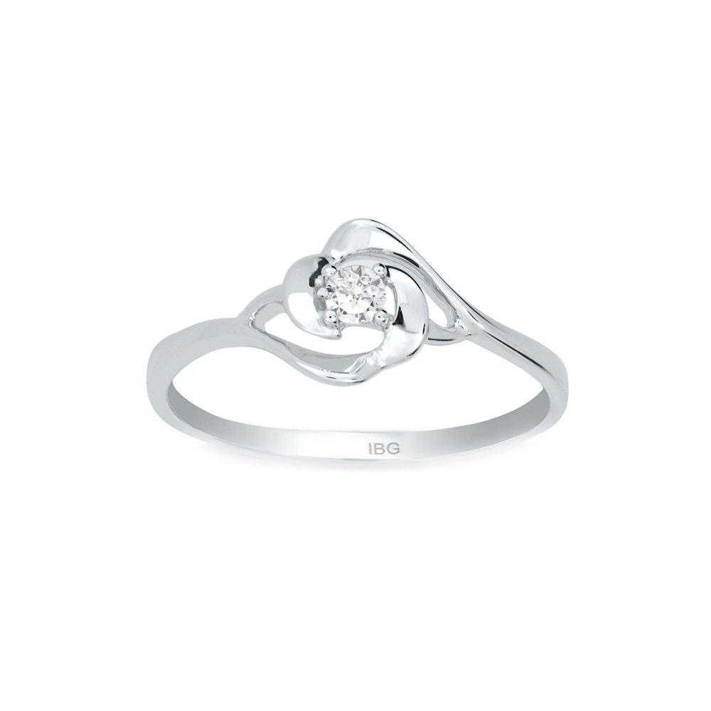 10k White Gold Diamond Solitaire Promise Ring. Finger Size 7