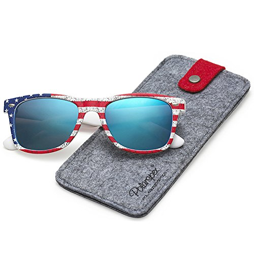 POLARSPEX POLARIZED UNISEX 80'S RETRO CLASSIC TRENDY STYLISH SUNGLASSES (American Flag | Ice Blue, - Lenses American With Sunglasses Flag