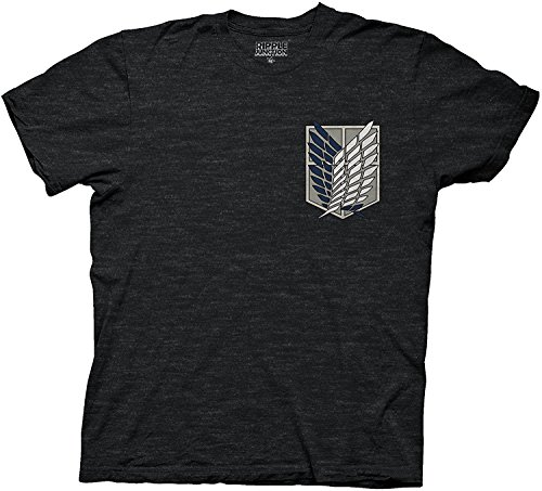 [Attack On Titan Survey Corps Adult Sized Soft Black T-shirt (Small)] (Make A Last Minute Halloween Costume)