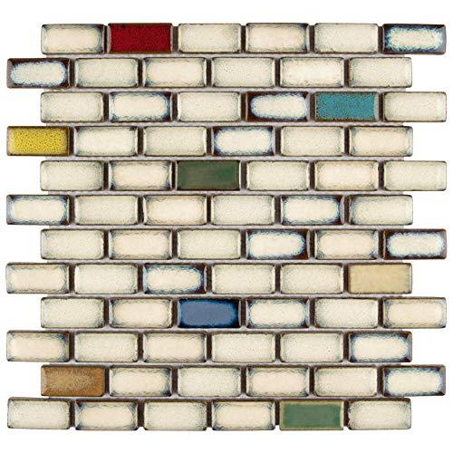 Beige Mosaic Tile Flooring - SomerTile FSDESWCS Essentia Subway Cascade Porcelain Mosaic Floor and Wall Tile, 11.875