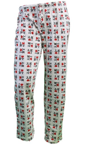 I Love NY New York Lounge Pants Heart Pajama Bottoms White -