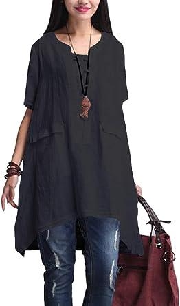 Mupoduvos Mujeres Algodón Lino Vestido Casual Plus Size Túnica Camisa Blusas Negro L: Amazon.es: Ropa y accesorios