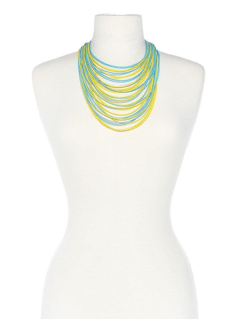 ZENZII Multi Strand Statement Bib Necklace for Women N1129 BLK