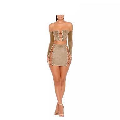 dc0161679df4b MAGICMK Suede Mini Long Sleeve Off Shoulder Club Sexy Party Dress at ...