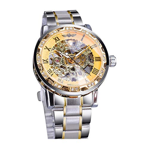 LUCAMORE Men's Automatic Analog Watch Fashion Skeleton Tourbillon Waterproof Stainless Steel Band Mechanical - Dual Tech Dress Watch