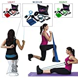 Fitness Exercise Bands Resistance Set with Shoulder Pulley. Stretching bands with handles for Legs, Arms & Physical Therapy. Ideal for Pilates, Flexibility, Strength Training, Rehab & Injury Recovery. Free travel bag & door anchor.