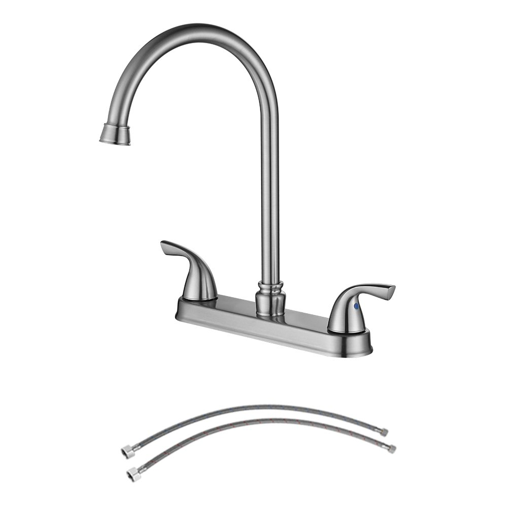 PARLOS 8 Inch Kitchen Faucet, Single Handle High Arch Pull out Kitchen Sink Faucets Mixer Tap with Water Supply Lines, Brushed Nickel,14137