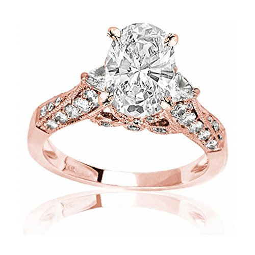 1.59 Carat t.w. 14K Rose Gold Oval Trillian And Round Diamond Engagment Ring D/VS2