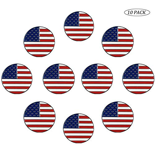 Golf Ball Markers Assorted Patterns Fits All Magnetic Golf Tools Value Set, Alloy Soft Enamel Technique Marker for Hat Clips Gloves Golf Divot Tools Marks (10 Pack&America Flag)