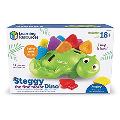 Learning Resources Steggy the Fine Motor Dino, Montessori Toys, Color Recognition, Developmental Toys, Fine Motor Toy, Ages 2+: Toys & Games