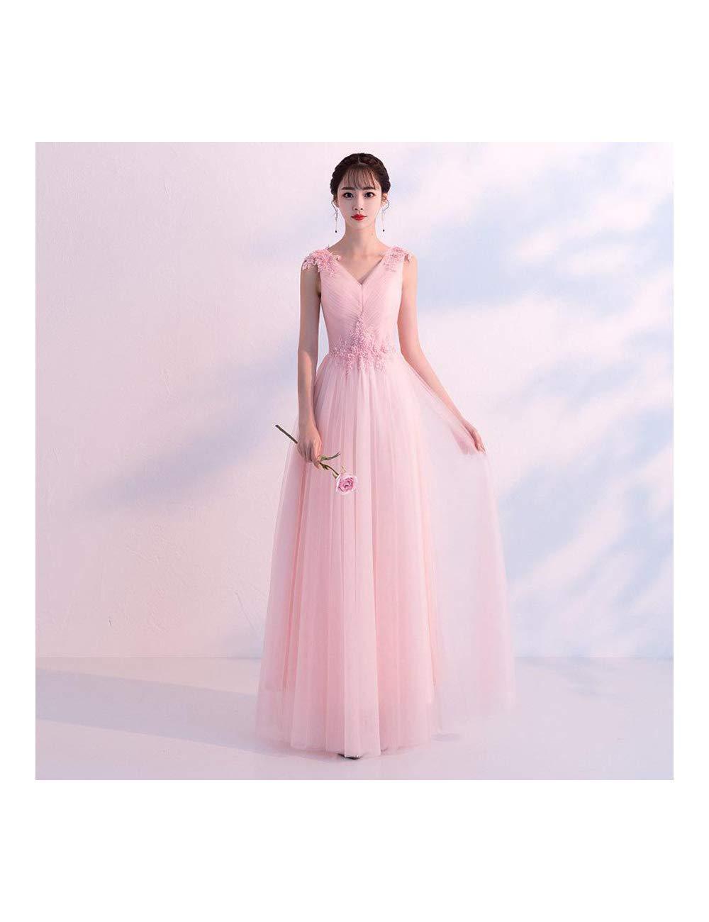 rose 1 XXXL ATLD Cheongsam Robe De Soirée De Mariage élégante Mariée Exquise Dentelle Fleur Strass Cheongsam Col en V sans Manches Qipao